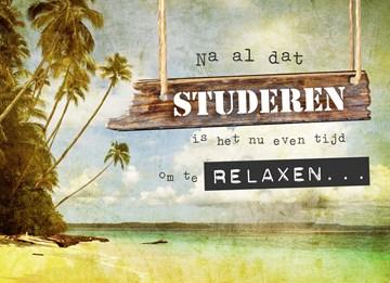 Geslaagd / Diploma kaart - tijd-om-te-relaxen-op-het-strand