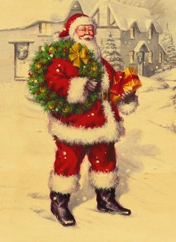 Kerstkaart - kerstman-hout-sneeuw