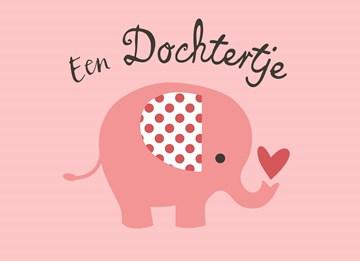 Geboortekaartje - Geboorte-Baby-Meisje-olifant