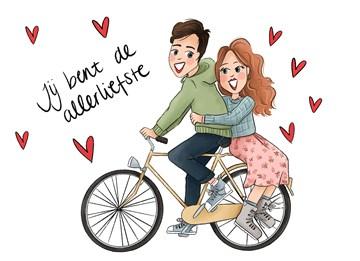 Valentijnskaart - Valentijnskaart-Verliefd-stel-op-fiets