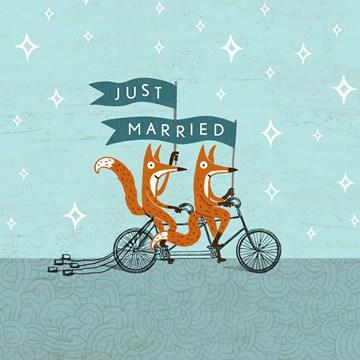 - Trouwkaart-Grappig-2-vossen-op-fiets