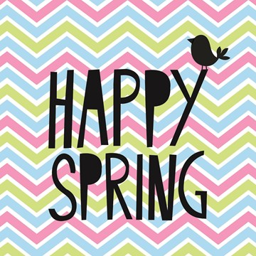 Lente kaart - kaart-happy-spring-met-een-vogel-en-een-vrolijk-kleurijke-print