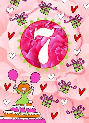 Verjaardagskaart kids - 7-jaar-meisje-cadeaus-en-hartjes