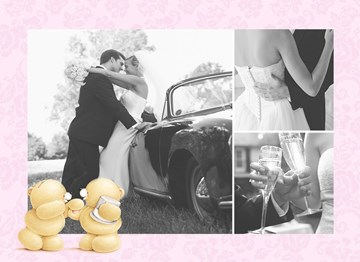 Huwelijkskaart met foto - fotokaart-forever-friends-huwelijk-roze