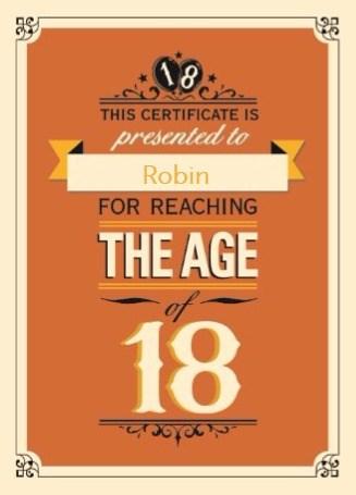 Verjaardagskaart leeftijden - jarig-leeftijd-18-achttien-jaar
