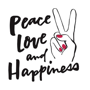Verjaardagskaart vrouw - peace-love-and-happiness