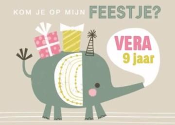 Uitnodiging kaart - verjaardagsfeest-meisje-olifant-kom-je-ook-gezellig