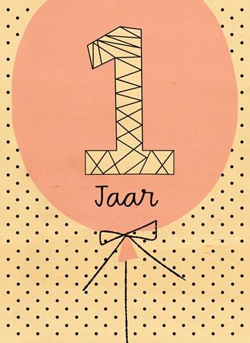 Verjaardagskaarten leeftijd - houten-kaart-verjaardag-meisje-1-jaar-oud