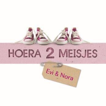 Geboortekaartje - hoera-2-meisjes