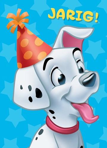 Disney kaart - 101-dalmatiers-hondje-met-feestmuts-jarig