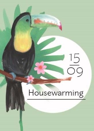 Uitnodiging maken - botanical-kaart-uitnodiging-housewarming-met-een-toekan