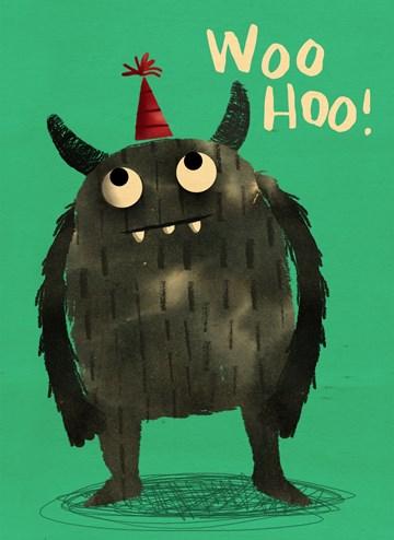 Verjaardagskaart tienerjongens - houten-kaart-monster-met-feestmuts-woohoo