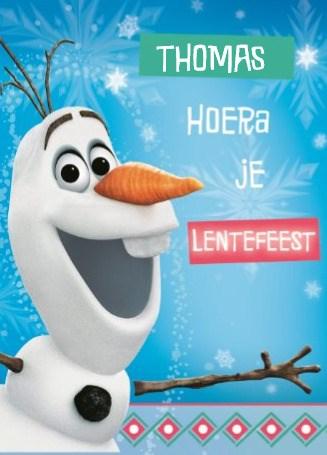 Lentefeest kaart - hoera-lentefeest-frozen-oscar