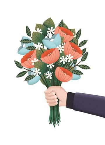 - hand-met-bloemen