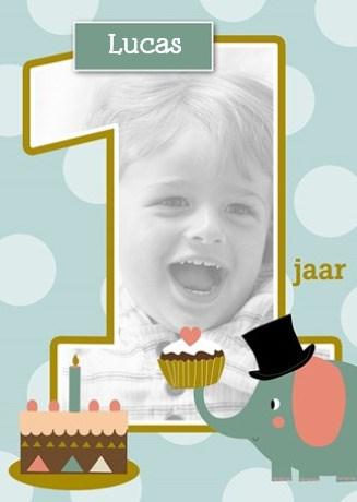Verjaardagskaarten leeftijd - hoera-een-jaar-kids-jongen