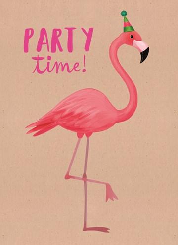 Verjaardagskaart vrouw - party-time-flamingo