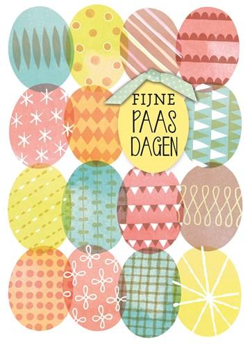 Paaskaart - kaart-met-gekleurde-paaseieren-fijne-paasdagen