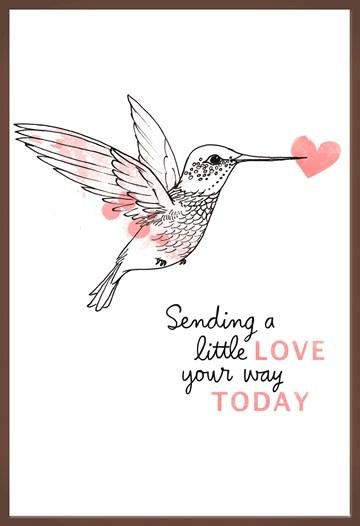 - Chocoladekaart-Kolibrie-Sending-a-little-love-your-way-today