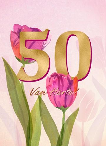 - Verjaardagskaart-vrouw-50-van-harte