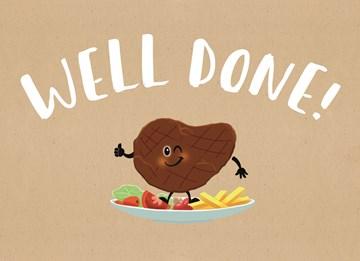 Succes / Goed gedaan kaart - well-done-biefstuk