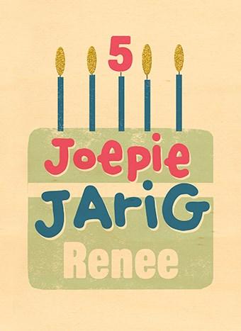 Verjaardagskaart tienerjongens - houten-kaart-taart-joepie-jarig-met-kaarsjes