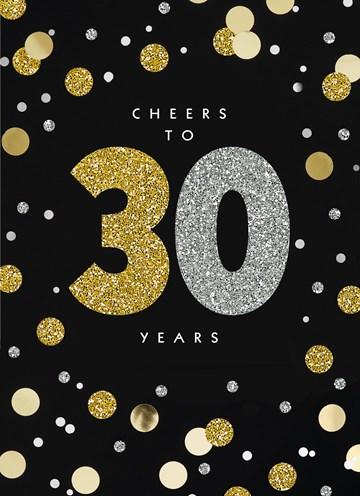 - Verjaardagskaart-leeftijden-Cheers-to-30-years-zilver-goud-zwart