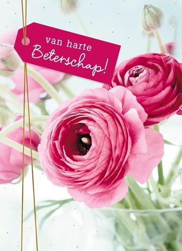 - Beterschapskaart-vrouw-Bloemen-Van-harte-beterschap