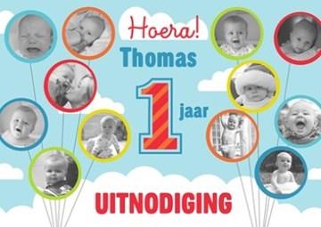 Uitnodiging maken - fotokaart-fotoballonnen-hoera-een-jaar-uitnodiging