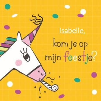 Uitnodiging kaart - unicorn-kom-je-op-mijn-feestje