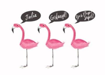 School / Geslaagd kaart - flamingo-want-je-bent-geslaagd-en-een-echte-topper