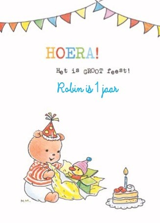 Verjaardagskaarten leeftijd - bobbi-beer-hoera-het-is-feest