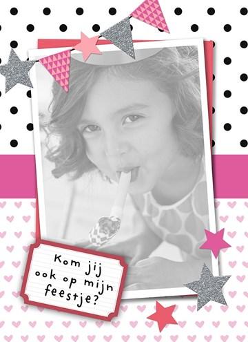 Uitnodiging kaart - vrolijke-roze-uitnodiging-voor-kinderfeestje