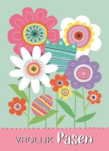 Paaskaart - vrolijk-pasen-kaart-met-gekleurde-bloemen-en-een-paasei
