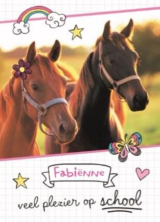 Back to School kaart - back-to-school-veel-plezier-op-school-paardenkaart