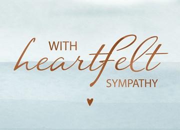 Deelnemingskaart - Rouwkaart - condoleance-with-heartfelt-sympathy