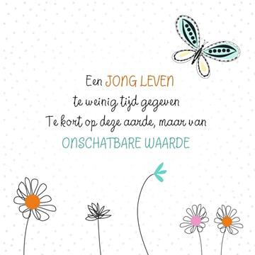 Deelnemingskaart - Rouwkaart - vlinder-een-jong-leven