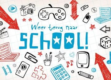 Back to School kaart - tekeningen-weer-terug-naar-school