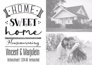 Uitnodiging maken - zwart-wit-home-sweet-home-housewarming-kaart