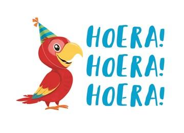 Verjaardagskaart vrouw - papegaai-3-x-hoera