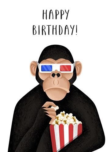 Verjaardagskaart tienerjongens - bioscoop-aap