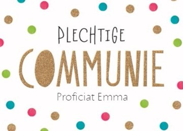 Communie kaart - feestelijke-kaart-plechtige-communie-met-confetti-stipjes