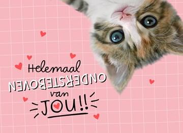 valentijnskaart - valentijn-een-kitten-ondersteboven-voor-jou