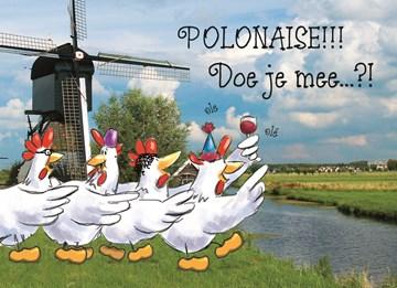 carnavalskaarten - kippen-polonaise-wijn