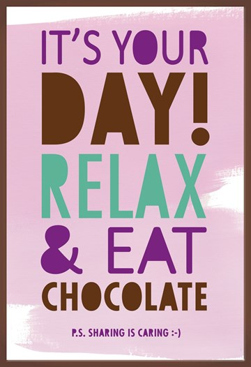 Felicitatiekaart - relax-and-eat-chocolate