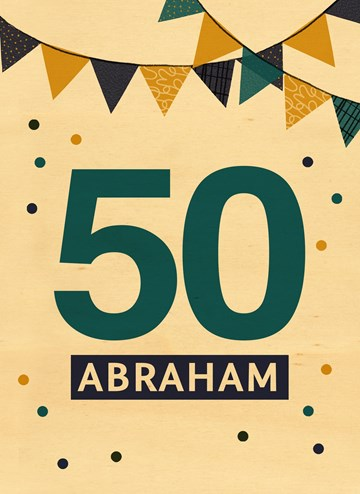verjaardagskaart man - houten-kaart-50-jaar-abraham-met-slingers