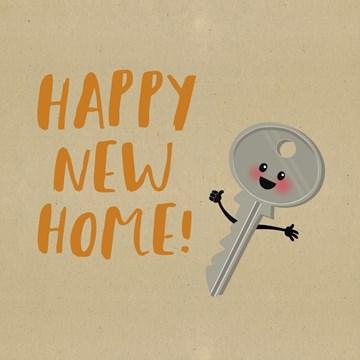 Nieuwe woning / Verhuiskaart - happy-new-home-sleutel