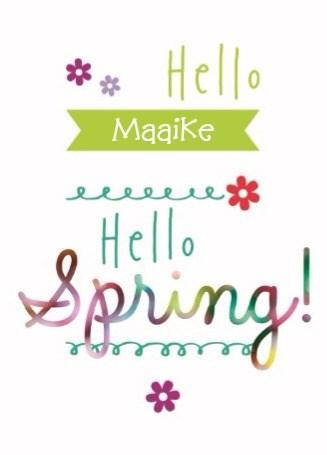 Lente kaart - kaart-hello-spring-met-vrolijke-bloemetjes-en-kleurtjes