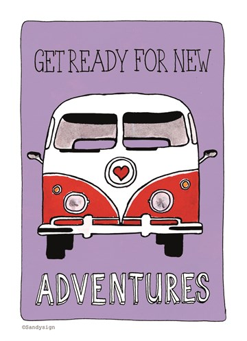 Afscheidkaart - get-ready-for-new-adventures-met-een-gave-bus
