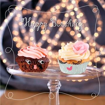 Verjaardagskaart meiden - cupcake-happy-birthday