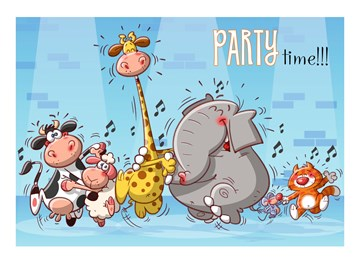 Felicitatiekaart - dansende-dieren-party-time